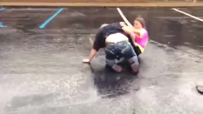 Parking lot party! Crazy chick fight! - YouTube