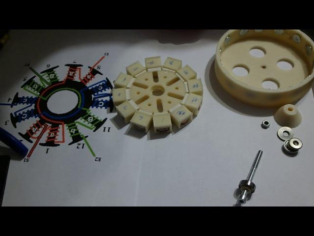 BLDC мотор из монет, напечатанный на 3d принтере