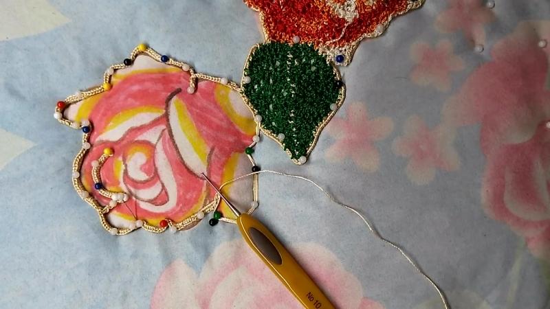 Розы. Вязание крючком бурдона без отрыва нити, для Ирландского кружева