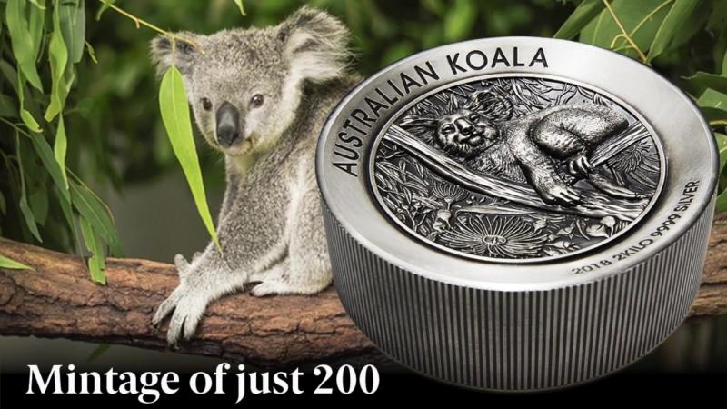 АВСТРАЛИЙСКАЯ КОАЛА - ДВУХКИЛОГРАММОВАЯ СЕРЕБРЯНАЯ МОНЕТА 2 Kilo Koala Coin