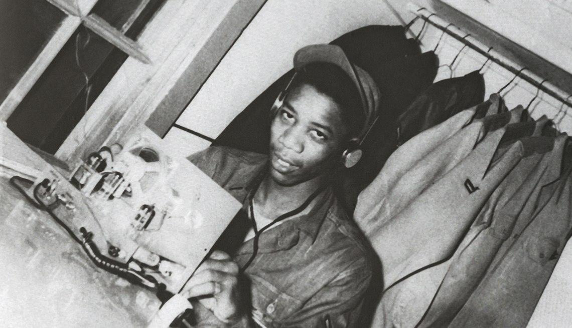 Морган Фримен во время службы в армии США, 1955 год.