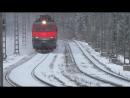 ТРАНССИБ.Длинные грузовые поезда на скорости по Транссибирской магистрали зимой. РЖД