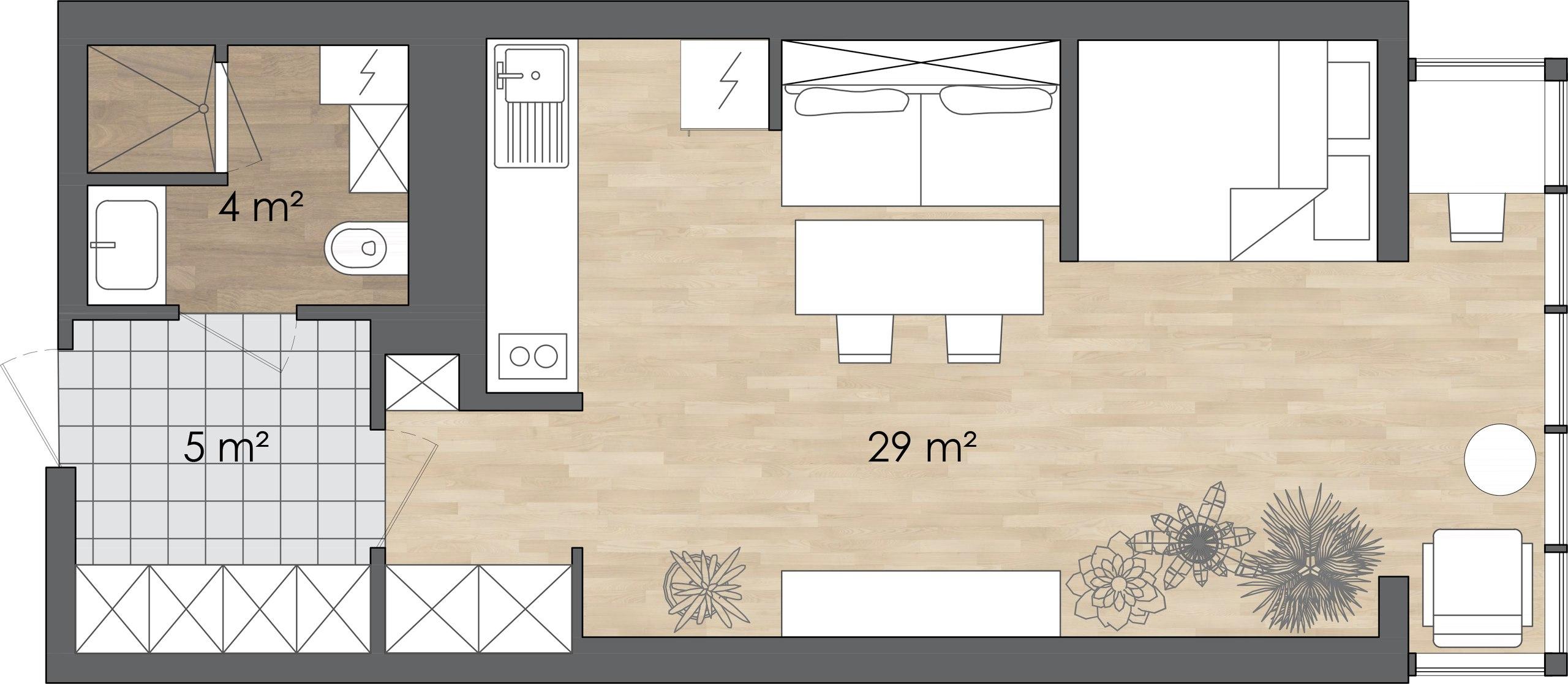 Проект квартиры-студии площадью 38м2.