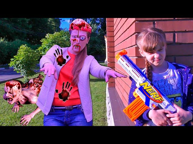 NERF WAR Zombie Apocalypse Моя МАМА ЗОМБИ-2 Спасение Города в Зомби Апокалипсис НЕРФ Война