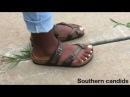 Sexy white ebony toes in birkenstocks