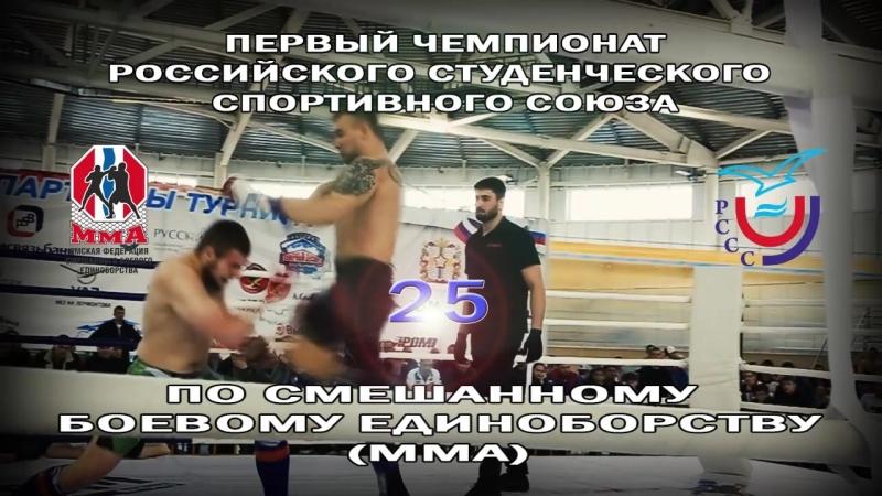 Чемпионат Российского студенческого спортивного союза (РССС) по смешанному боевому единоборству (ММА) на 2018 год