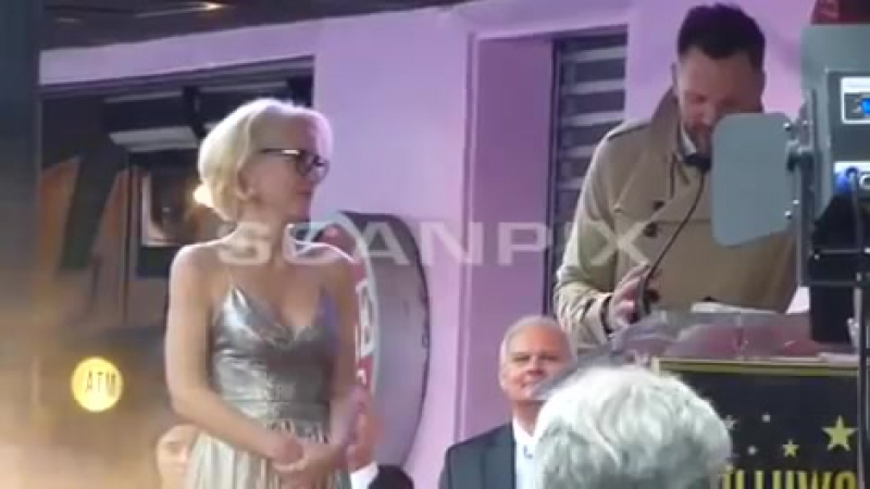 Gillian Anderson at The Walk of Fame ceremony during Joel McHale speech