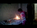 Ольга задувает торт