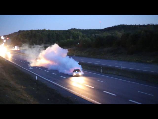 BMW E30 V8 TURBO BURNOUT HIGHWAY