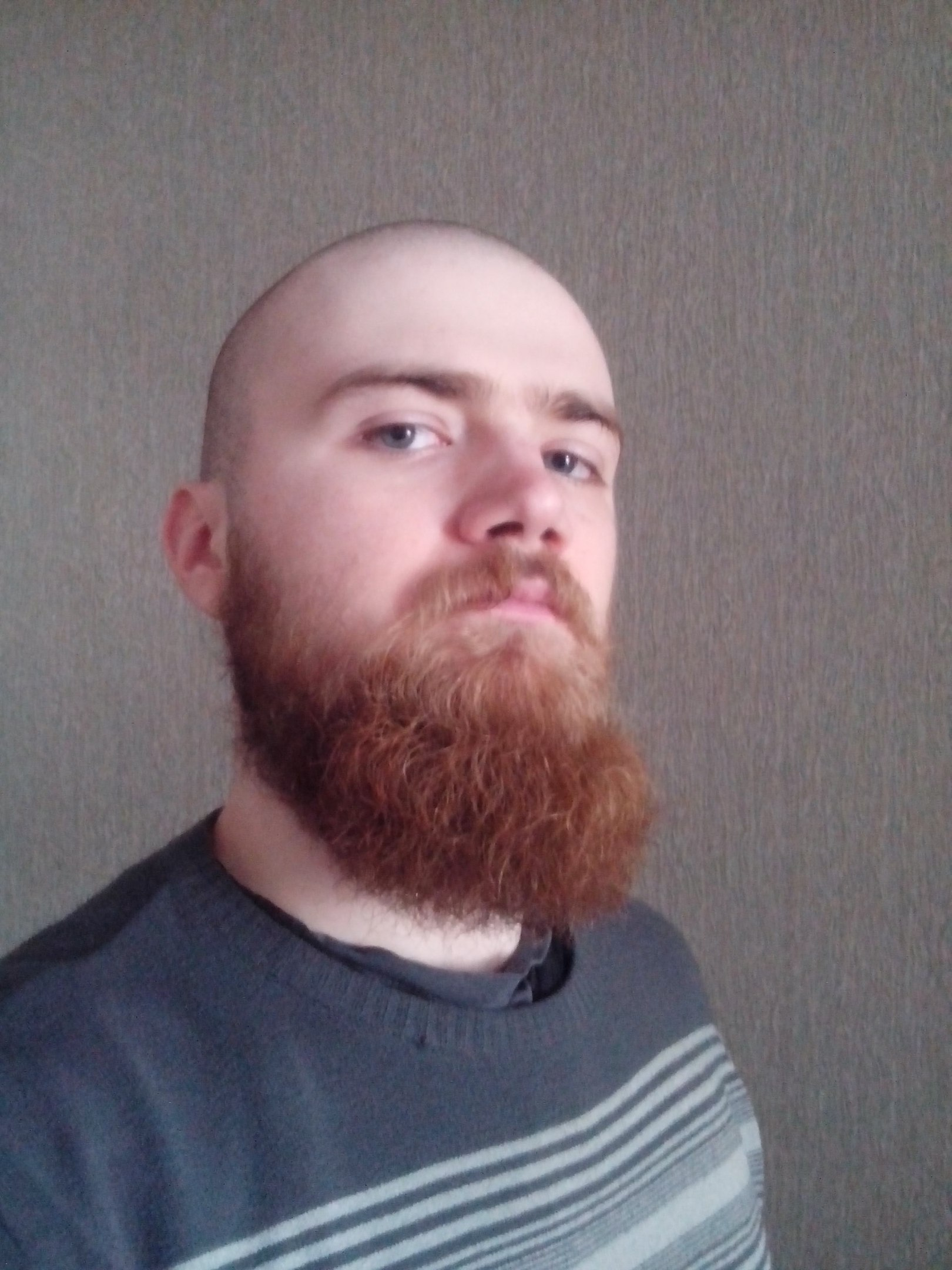 Long full red beard with shaved head