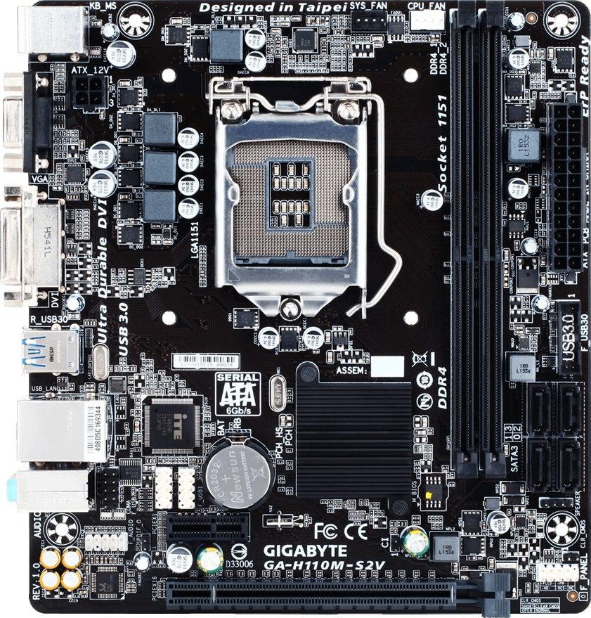 Продам материнская плату Gigabyte GA-H110M-S2V, Сокет - LGA 1151, стоял на ней i5 6400, продаю по причине покупки новой.