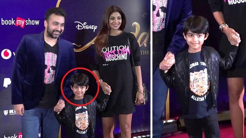 Shilpa Shetty Raj Kundra With CUTE Son Viaan At Alladin Movie Premiere