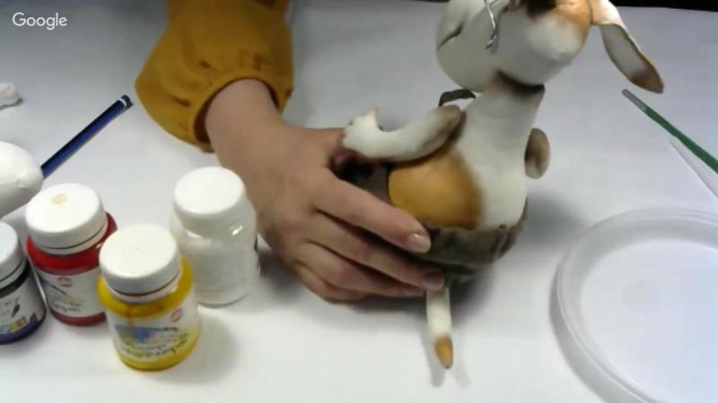 19 октября Марина Григорьева Рекс-умняшка в технике грунтованный текстиль