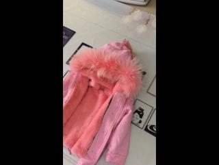Children winter fur coat