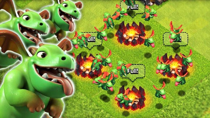 Атаки минидракончиками на кв с тх9 в Clash of Clans
