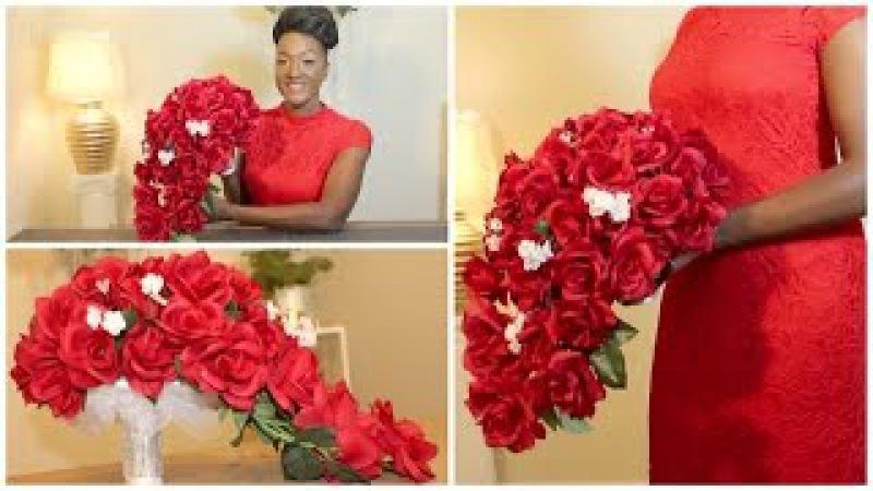 DIY: Rose Bridal Cascading Bouquet | Wedding | Waterfall | Teardrop Bouquet || Chanelle Novosey