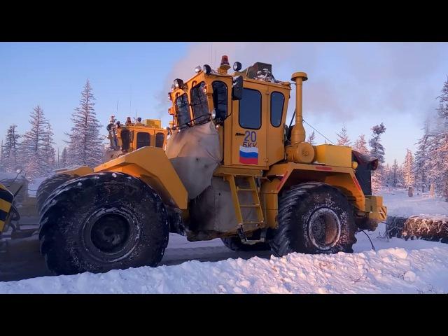 Как делают дорогу (зимник) в Якутии трактора ТЭСМАРК