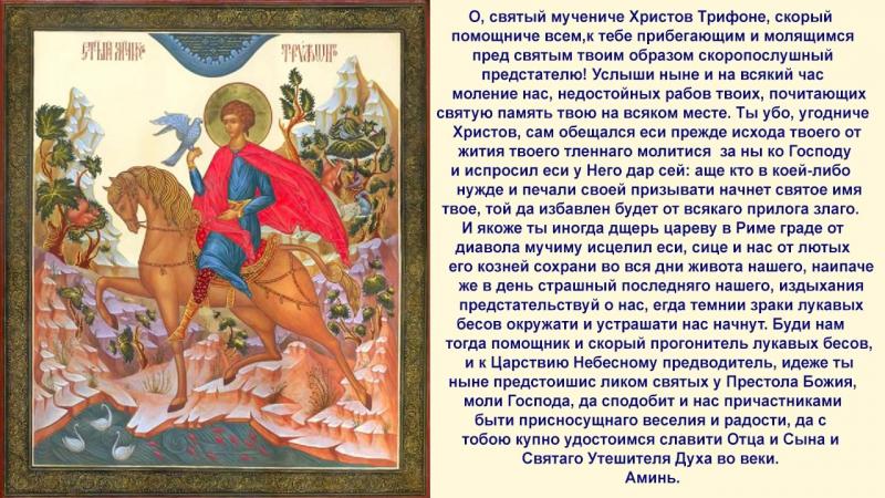 Молитва от козней диавольских Св.мученику Трифону