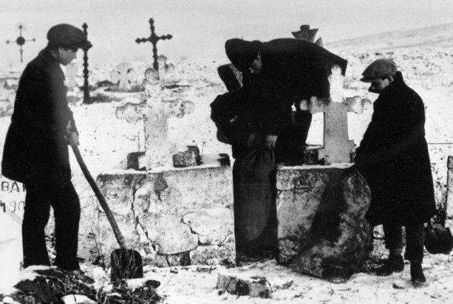 Комсомольцы извлекают зерно, спрятанное кулаками на кладбище, Украина, 1930 год.