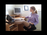 Secretaries in the workplace in the office in Pantyhose and Stockings