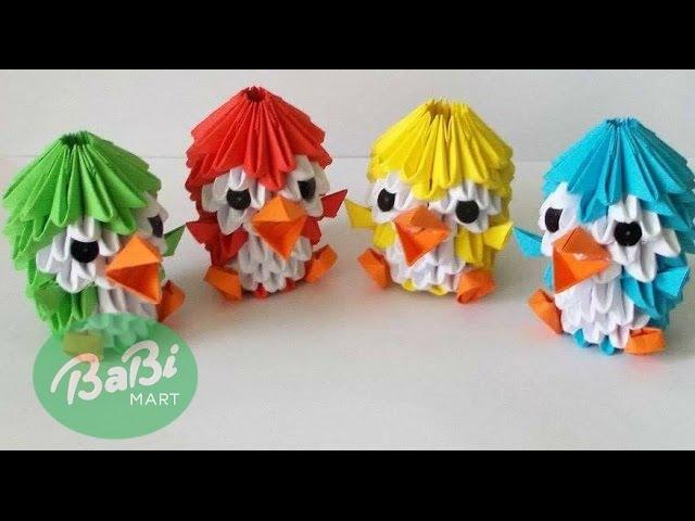 Dạy bé làm đồ chơi - Hướng dẫn bé Gấp chim cánh cụt | How To Make 3D Origami Penguin | BabiMart TV
