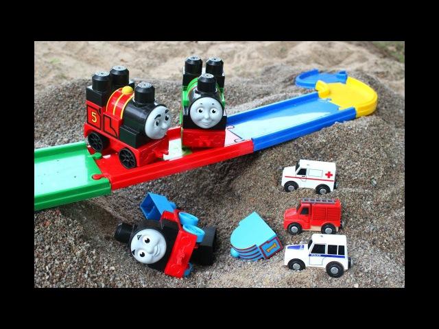 Паровозик Томас и его Друзья Игрушки Машина Скорой Помощи, Пожарная и Полицейск ...
