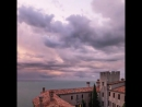 Stormy sunset at duino castle in trieste - italy landscape nature sea...