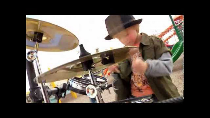 5 year old drummer Logan Robot Gladden on Barney Friends Rock Like A Monkey