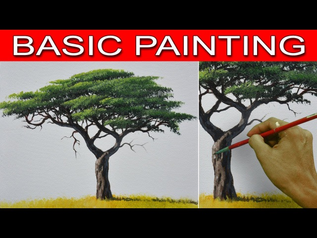 How to Paint an Acacia Tree in Step by Step Real Time Acrylic Painting Tutorial by JM Lisondra