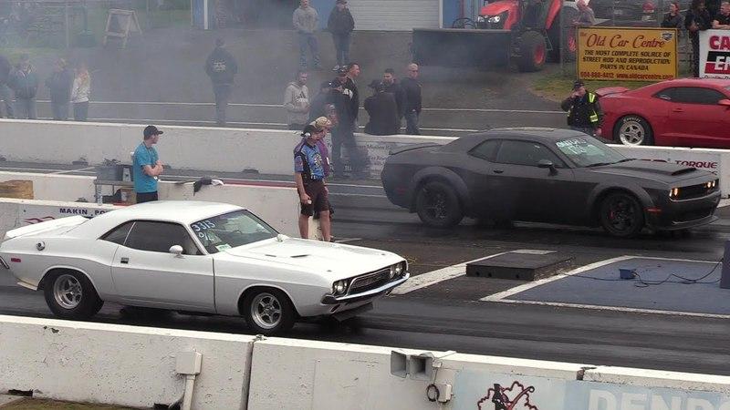 The Legend meets The Demon Classic 72' Challenger vs Dodge Demon drag race