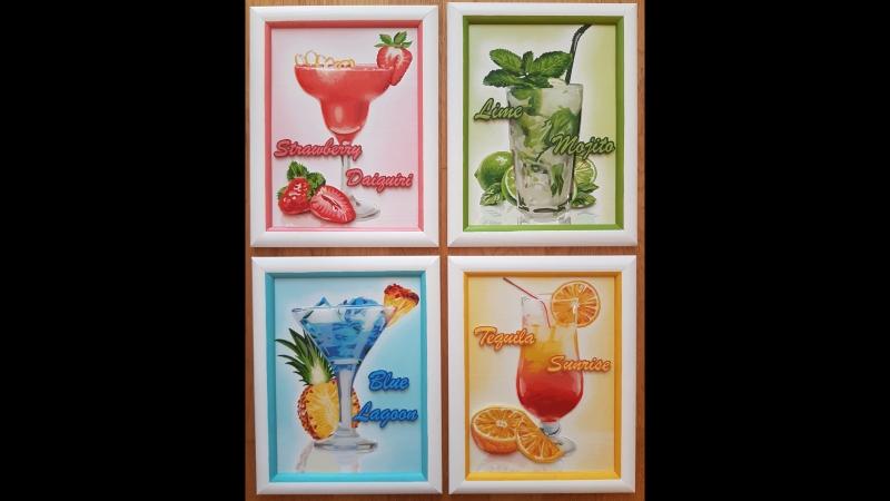 Коктейли - аппликация и декорируем жидким стеклом