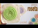 Cuadrado o granny con roseta 3D tejido a crochet Tejiendo Perú