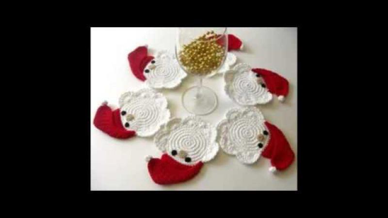 Posavasos de ganchillo de Navidad. Christmas crochet coasters. Gali Craft