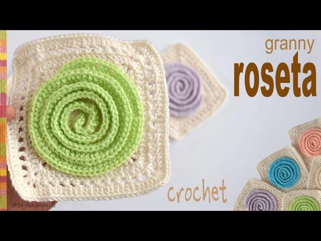 Cuadrado o granny con roseta 3D tejido a crochet - Tejiendo Perú