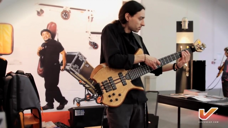 Bassist Alex Lofoco performs at the Gruv Gear booth at Musikmesse 2013 (Part 3)
