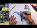 Уроки рисования. Как нарисовать ДИНОЗАВРА цветными карандашами поэтапно