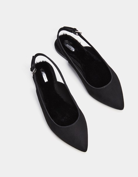 Туфли без задников, с острым носом и меховой отделкой