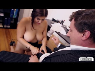 July Johnson - Busty German secretary gets cum on her big natural tits in hot office bang
