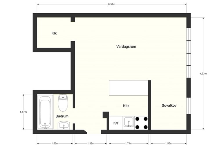 Шведская квартира-студия 28 м.