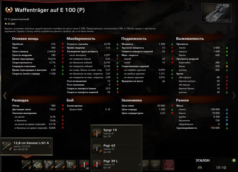 Waffenträger auf E 100 (P) ребаланс прем для Китайского сервера