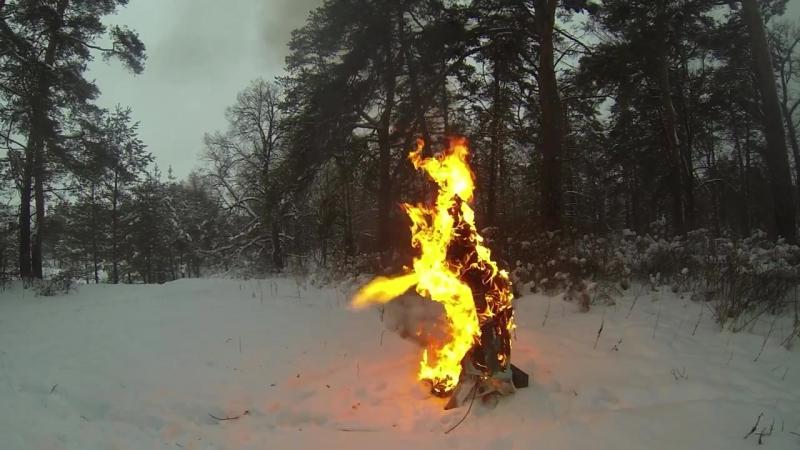 Сжигание и взрыв чучела Масленица в Серпухове