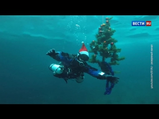 Дайверы из Свердловской области нарядили елку на четырехметровой глубине