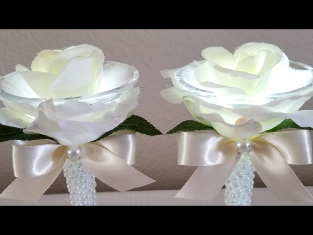 DIY| LIGHTED ROSE CANDLE HOLDERS