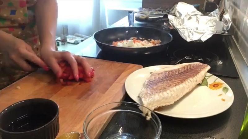 Филе Сайды в медово-соевом соусе с овощным рататуем