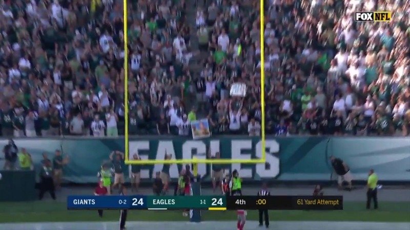 61 yards. An Eagles franchise record. What a moment for Jake Elliott! FlyEaglesFly