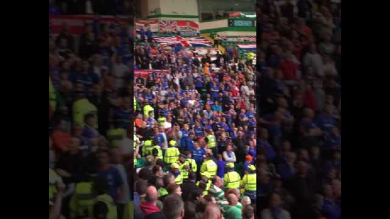 Celtic v linfield- linfield fans after they tried but failed to reach the Celtic end