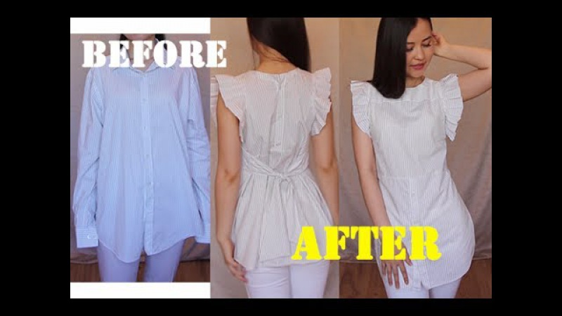 Men's shirt into Pretty shirt with ruffles 100%upcycle refashion idea