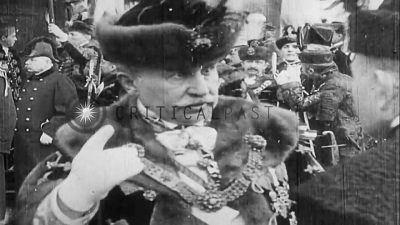 The Imperial coach carries Emperor Charles (Karl) I of Austria and Empress Zita. .HD Stock Footage