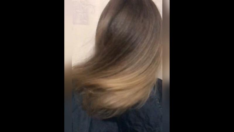 Шатуш (shatush) на тёмные волосы растяжка цвета