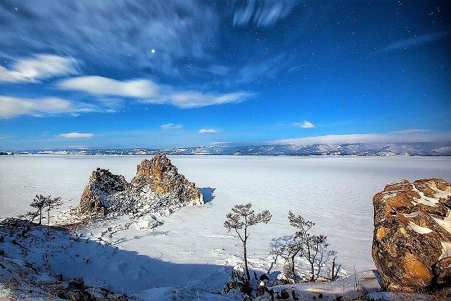 Baikal, Olkhon Island, Burkhan cape, Shaman peak, Small Sea gulf. Photographer: Evgeny Saifutdinov